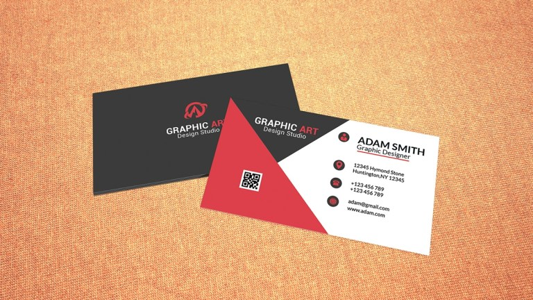 simple red & black business card
