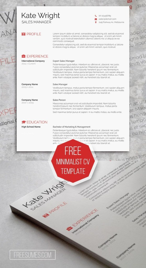 smart freebie word resume template the minimalist with