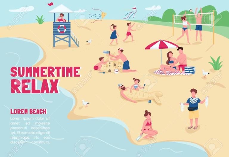 summertime relax banner flat vector template brochure poster