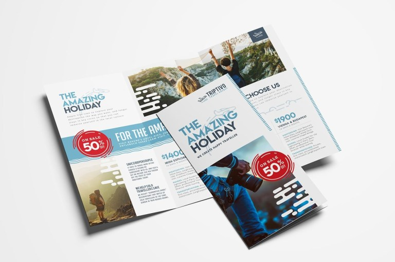 travel company trifold brochure template vector