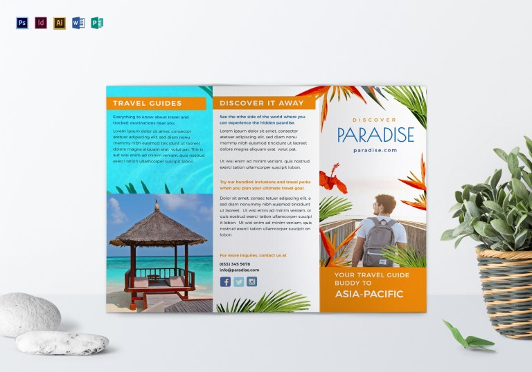 travel tri fold brochure design template in psd