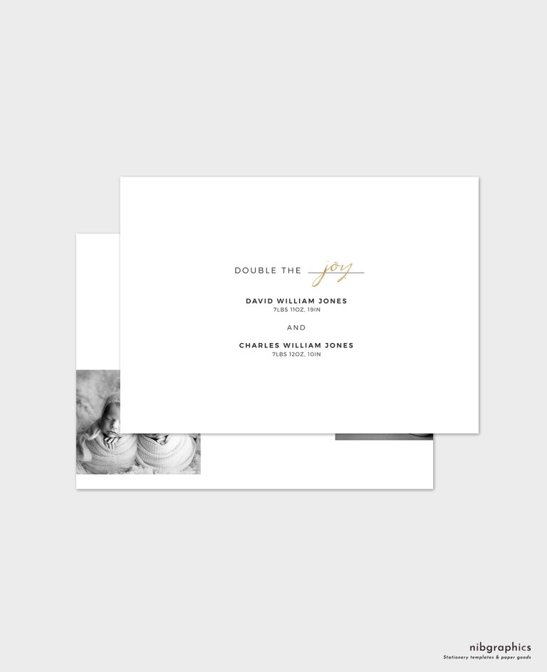 twins birth announcement card template
