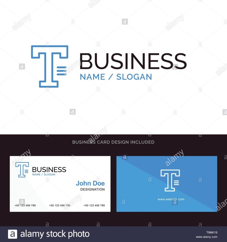 type text write word blue business logo and business card