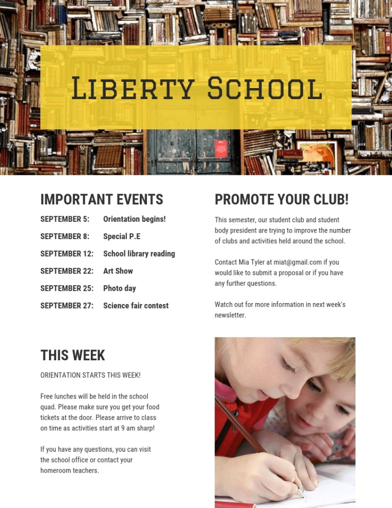 yellow bookshelf school newsletter template