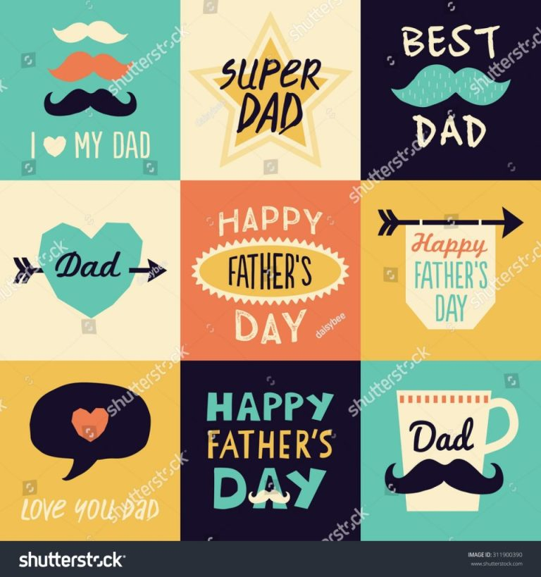 set 9 hipster fathers day birthday stock vector royalty
