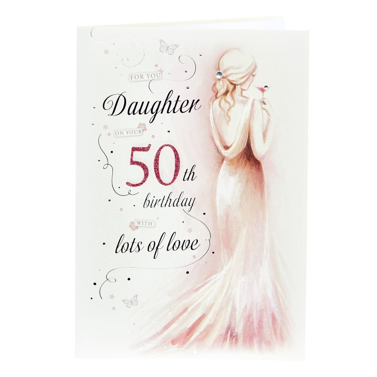 50th birthday card daughter with lots of love