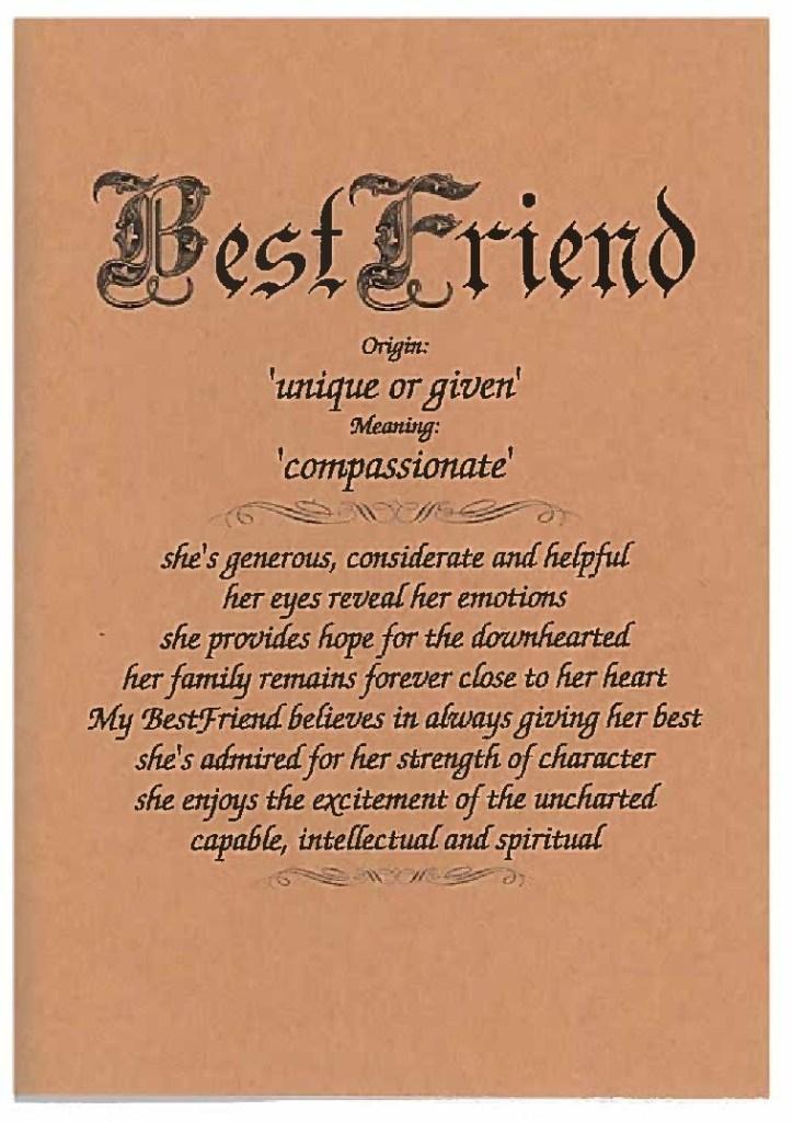 best friends day card female