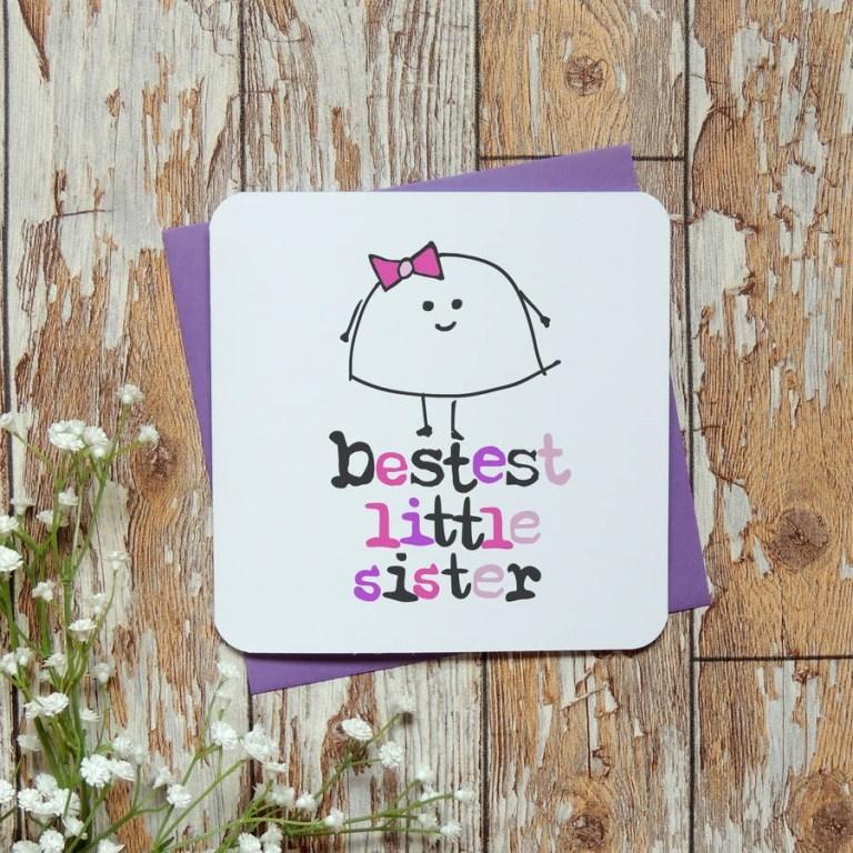 bestest littlebig sister birthday greeting card