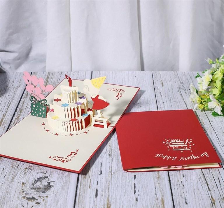 birthday cake lovely girl creative 3d greeting card gorgeous