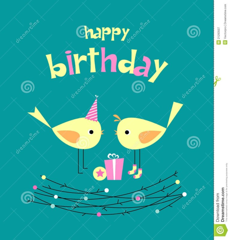 birthday card with cute birds with gifts stock vector