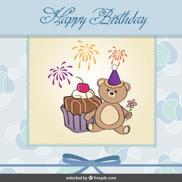 cute teddy bear birthday card free vector