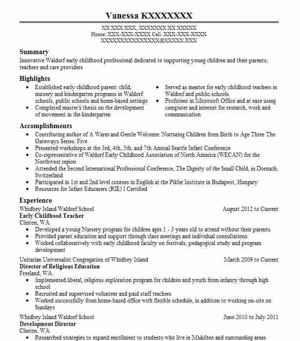 early childhood teacher resume sample resumes misc