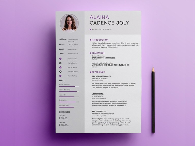 free professional resume template with clean design free