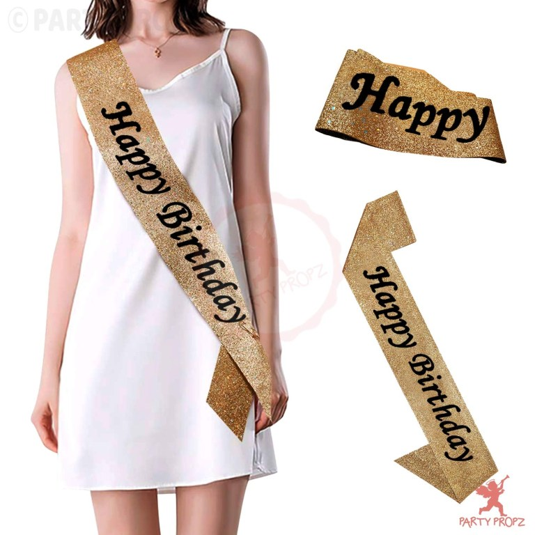 gold glitter happy birthday sash for birthday boy or girl 18th birthday20th birthday 30th40th50th60th birthdayparty supplies