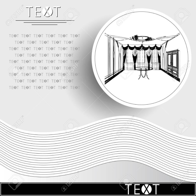 graphic drawing with abstract interior of the banquet hall rounded