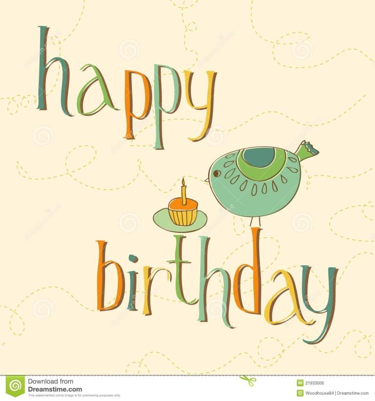 greeting birthday card with cute bird stock vector