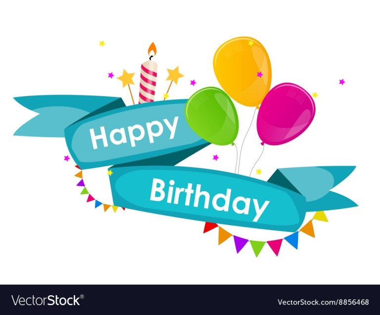 happy birthday background with ribbon balloons vector image