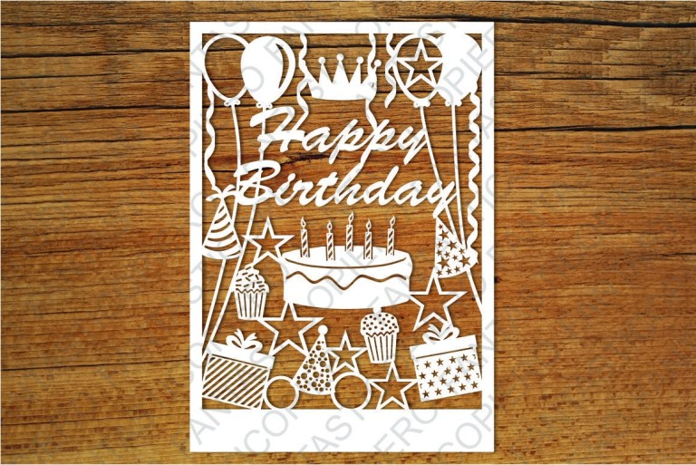 happy birthday card svg files for silhouette cameo and
