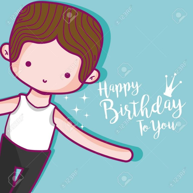 happy birthday card with cute boy dancer cartoon vector illustration