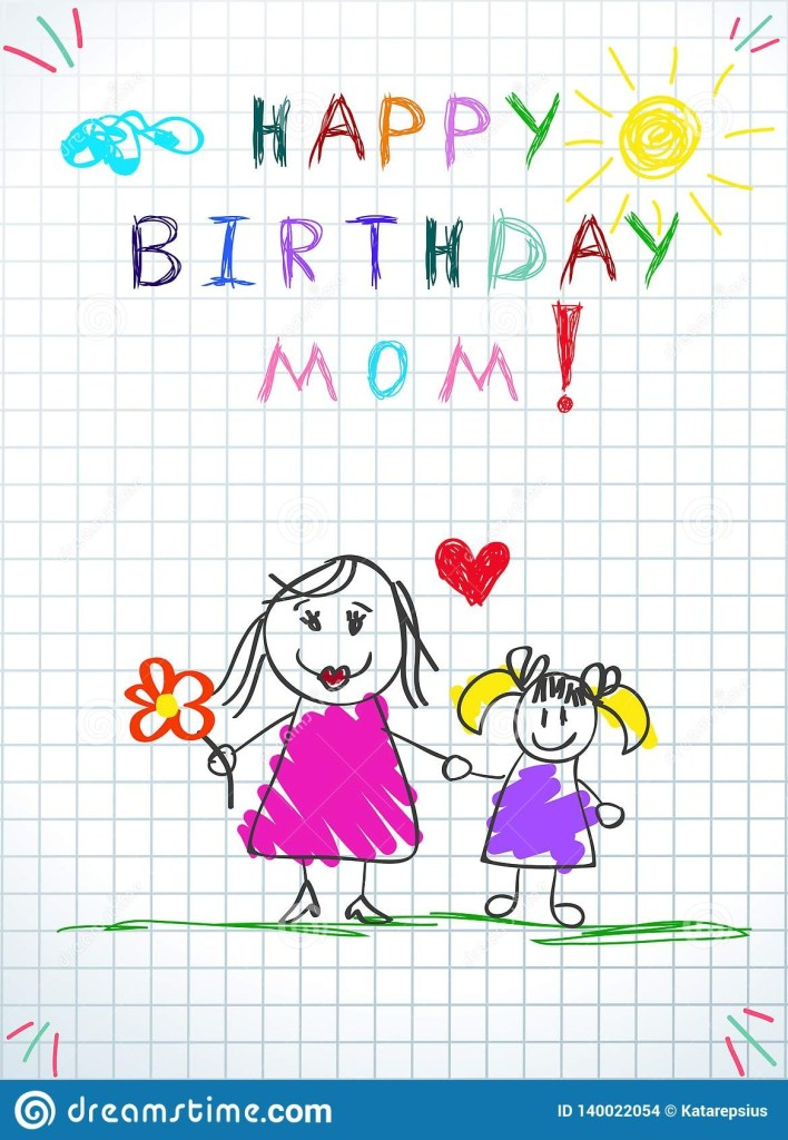 happy birthday mom hand drawn mother and daughter stock