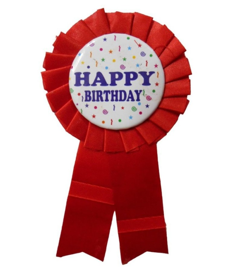 happy birthday ribbon badge for birthday party red pack of 1