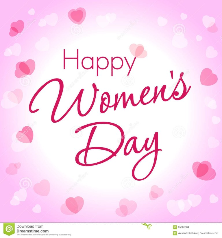 happy women day hearts greeting card template stock vector