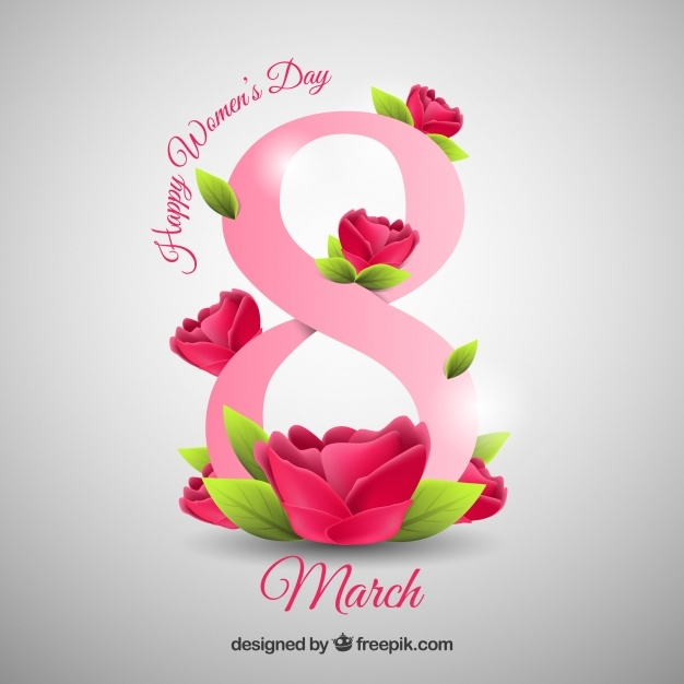 happy womens day background in realistic style free vector
