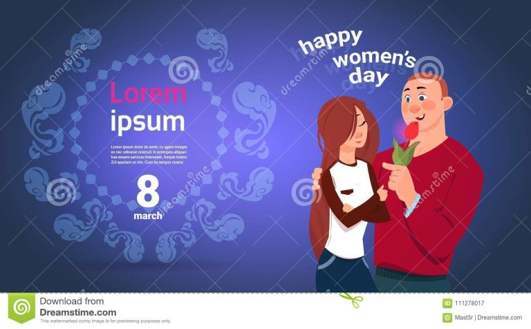 happy womens day banner with young couple embracing over