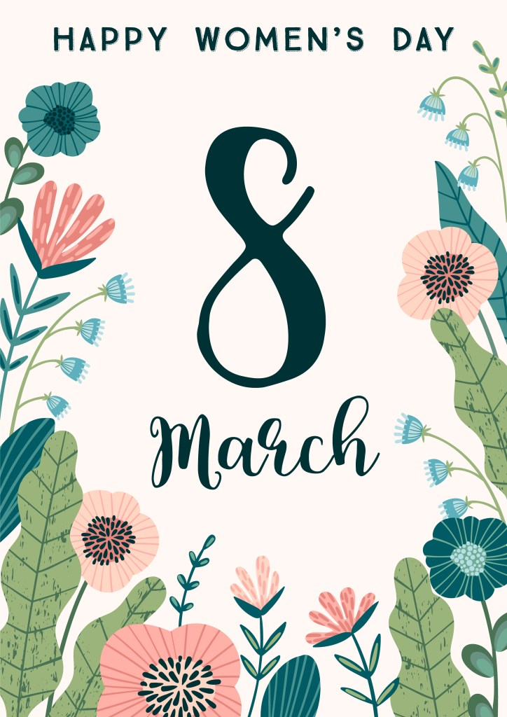 international women s day vector template with flowers