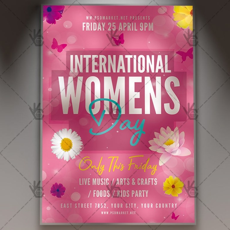international womens day flyer psd template
