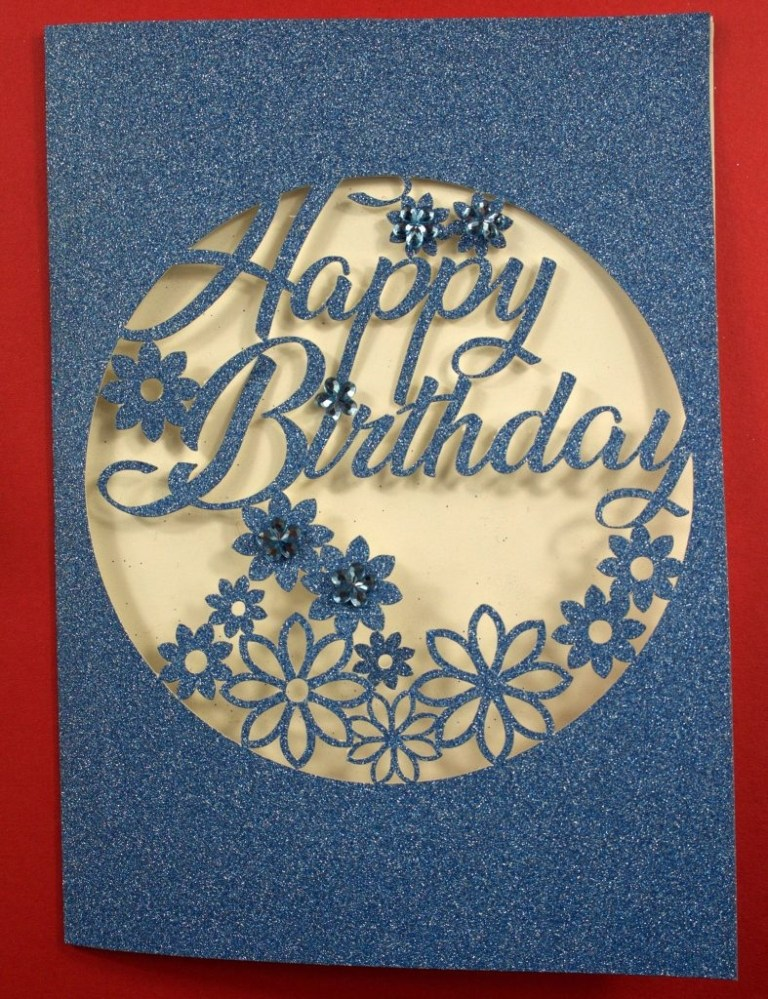 intricate cut floral birthday card for the cricut maker