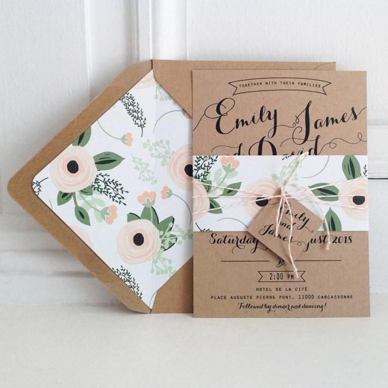 kraft wedding invitation suite kraft lined envelopes