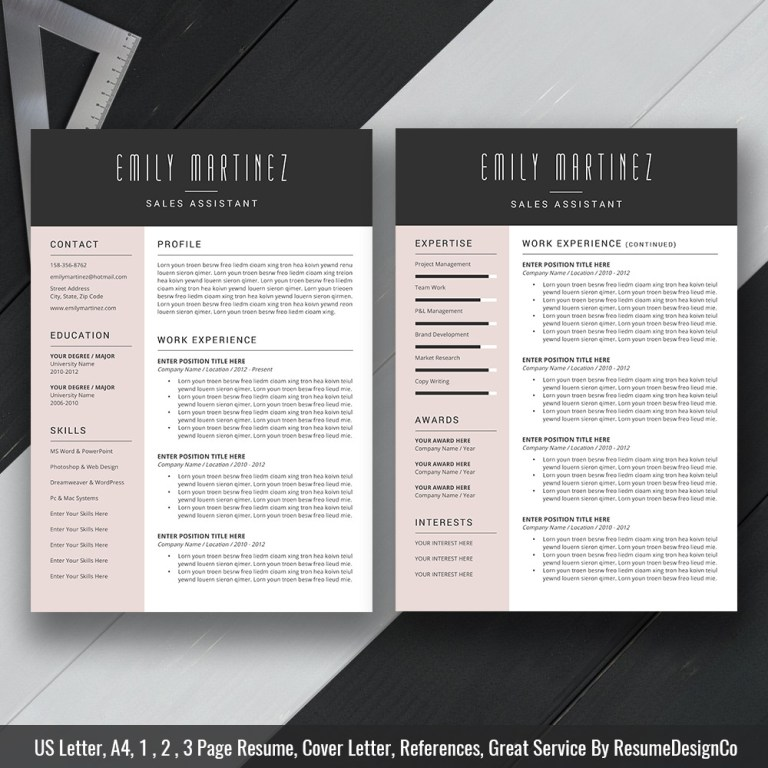 modern and simple resume cv template for ms word