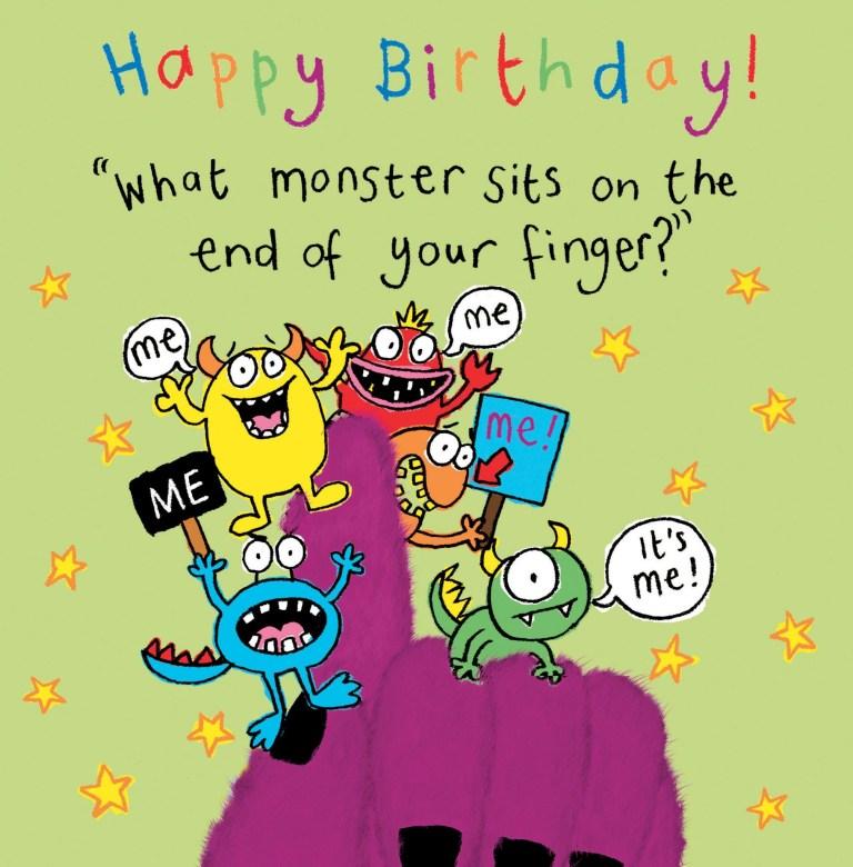 monster funny joke birthday card for kids tw433