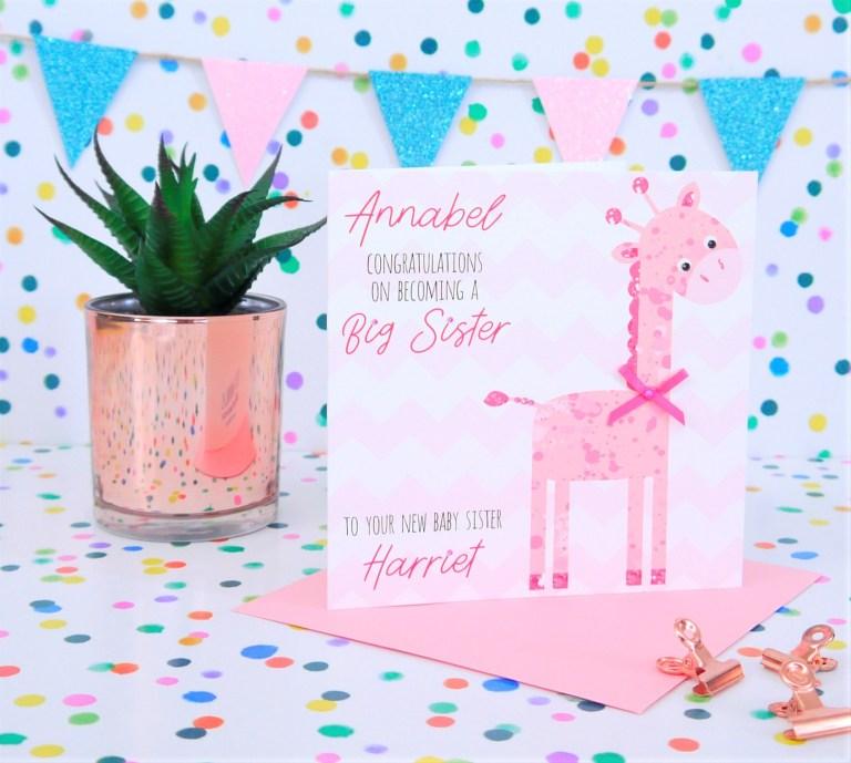 personalised handmade new big sister card creative