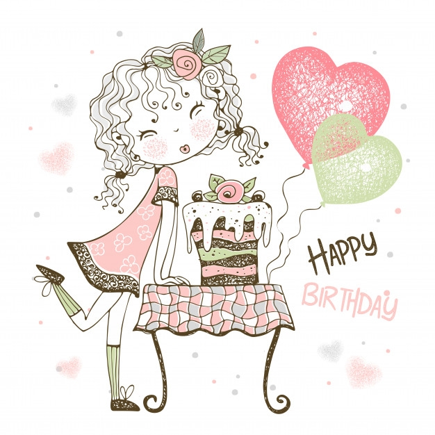 premium vector birthday card with cute girl with cake