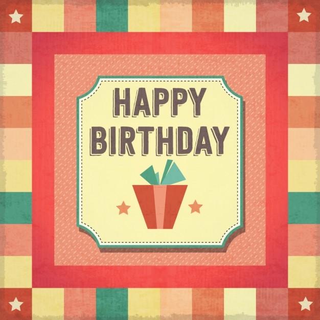 retro happy birthday card vector free download