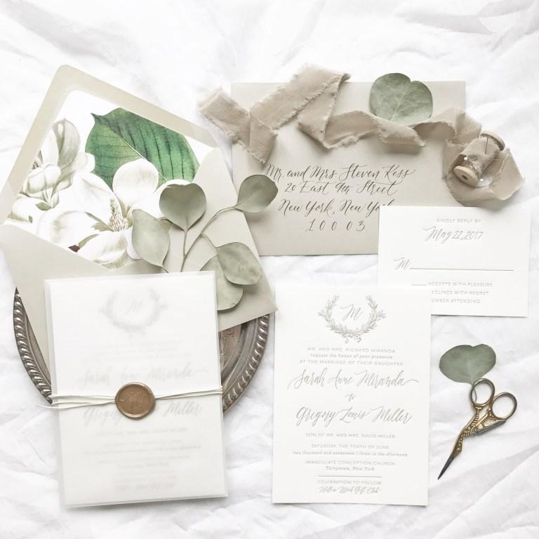 sarah and gregs magnolia wedding invitations wedding