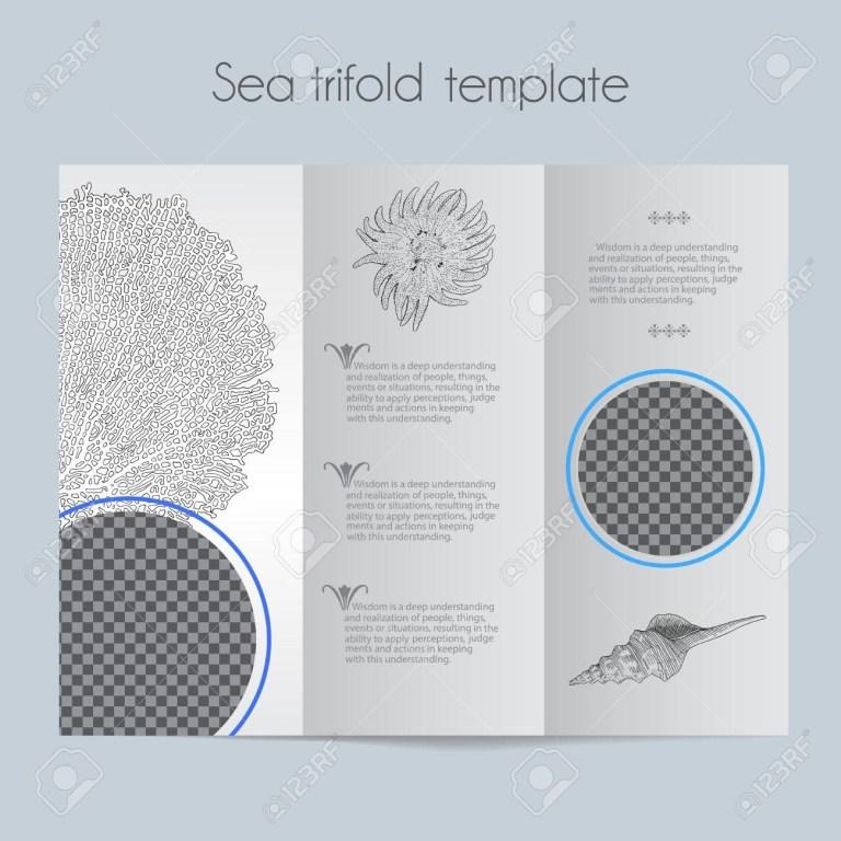 sea template tri fold mock up for brochure menu wedding