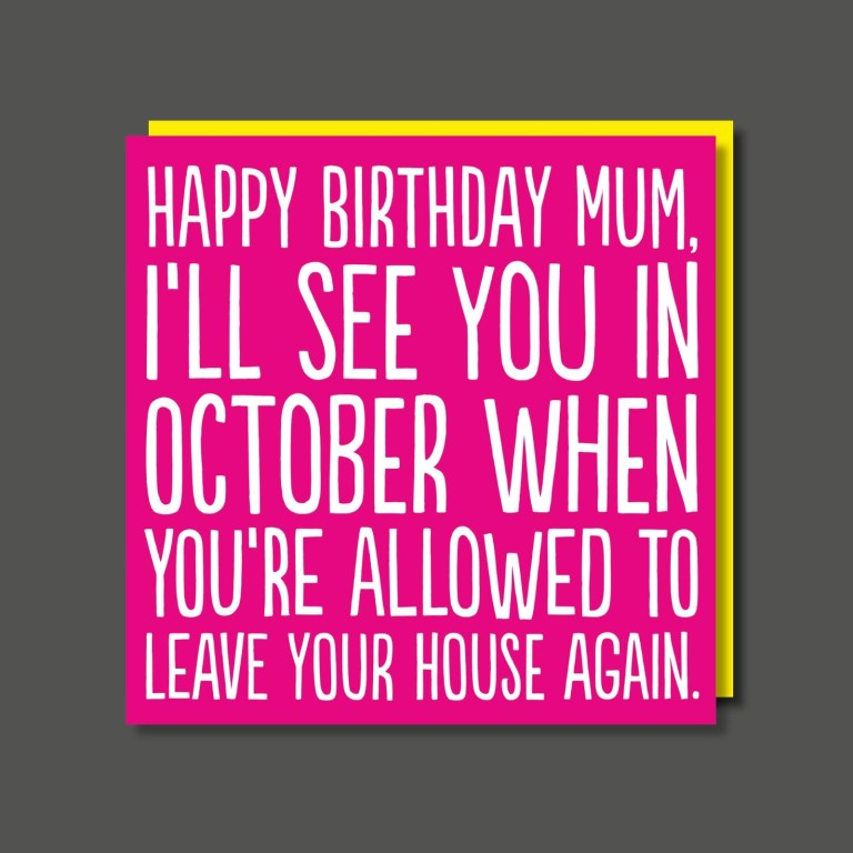 see you in october funny lockdown mum birthday card 2