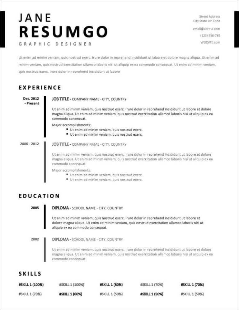 simple resume format pdf download for freshers