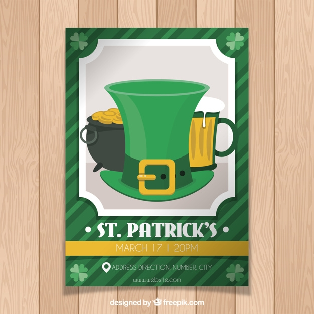 st patricks day flyer poster template free vector