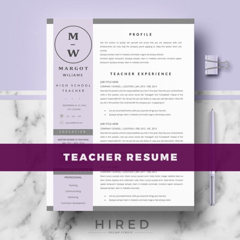 teacher resume template for ms word margot hired