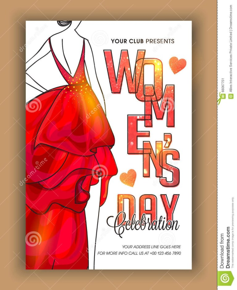 template banner or flyer for womens day stock