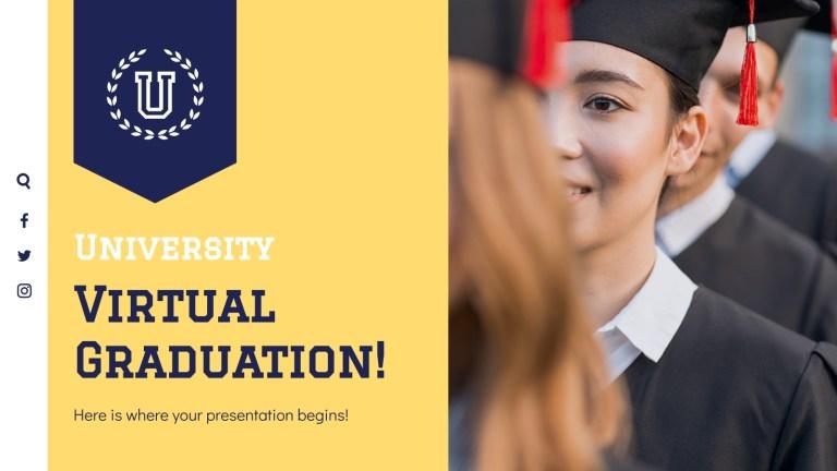 university virtual graduation google slides and ppt template