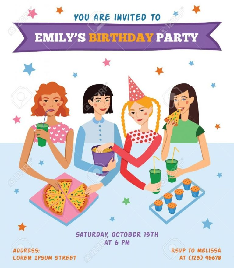 vector invitation flyer card for teenage girls birthday party