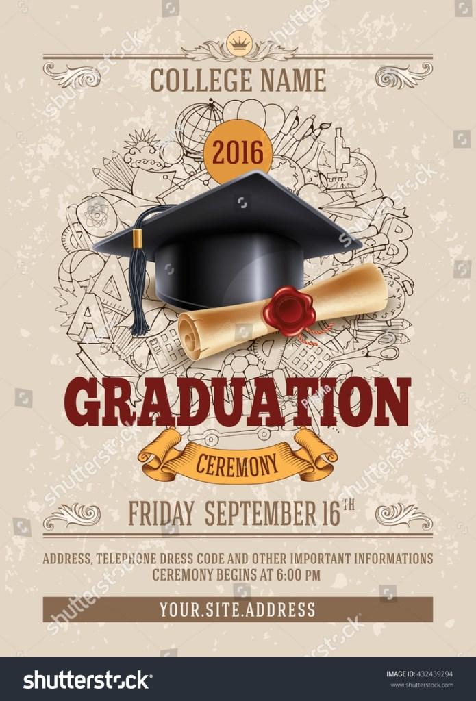 vector template announcement invitation graduation ceremony