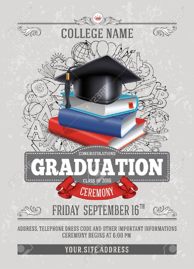 vector template of announcement or invitation to graduation ceremony