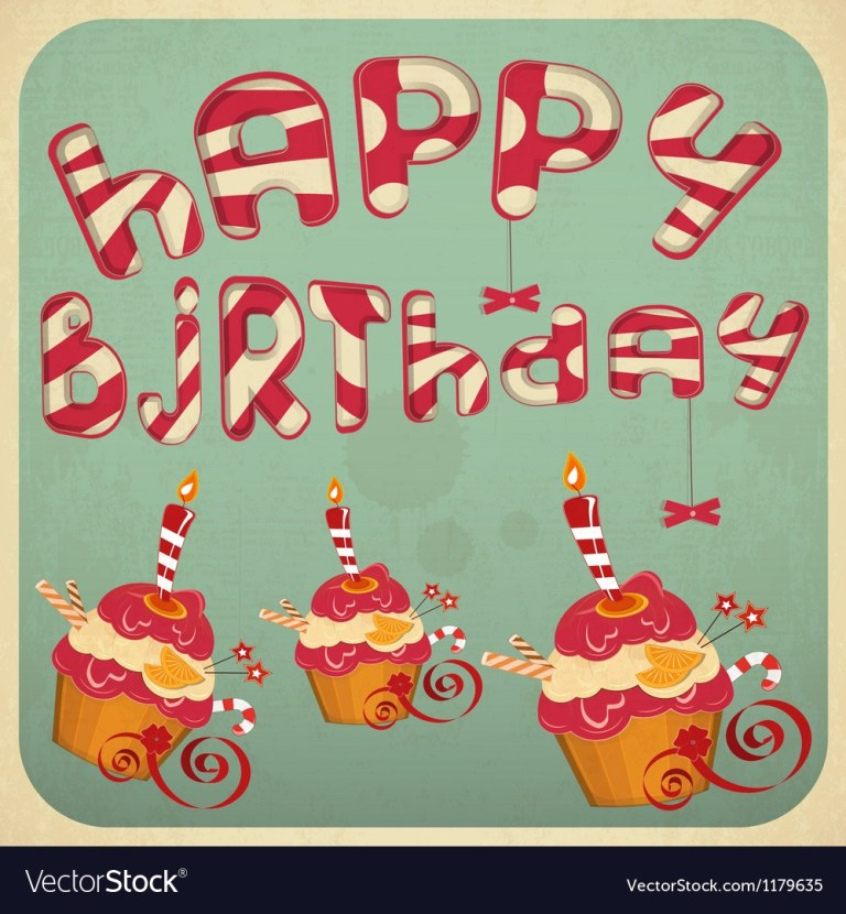 vintage birthday card with cakes royalty free vector image