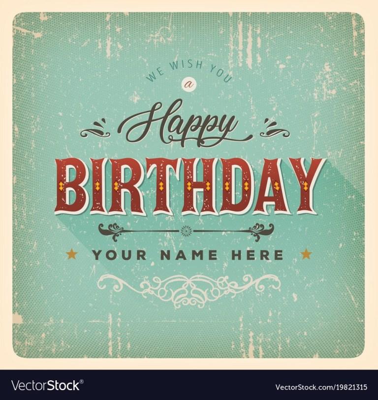 vintage happy birthday card royalty free vector image